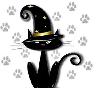 20 WATER SLIDE NAIL ART DECAL HALLOWEEN BLACK CAT W PAW PRINTS   5/8 TH INCH