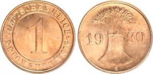 Weimar 1 Reichspfennig 1930 E Seltenes Mint Mark Prfr Saint (2)