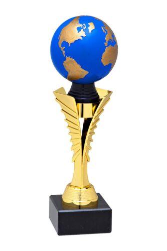 31cm mit Schild Welt Pokal Globus in 6 Größen H.=24,5cm 3D Erdkugel blau-gold