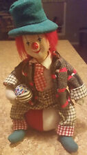 """10"""" Tall Cute Clown sitting on large soft striped ball / Ceramic Face"""