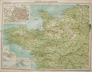 1920 Large Map North Western France Environs Of Paris Le Havre