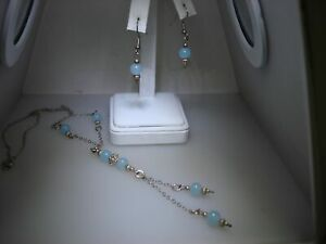 LOVELY VINTAGE STERLING SILVER & CHALCEDONY BEAD NECKLACE & MATCHING EARRINGS!