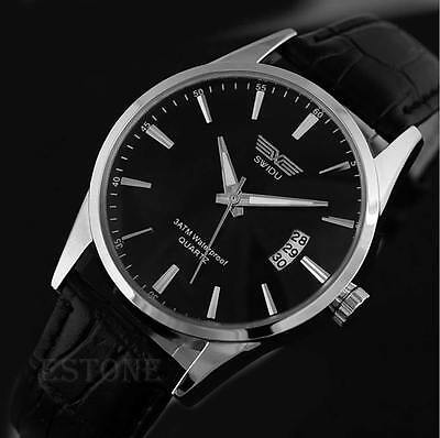 Men's Classic Simple Leisure Leather Calendar Sport Quartz Date Wrist Watch