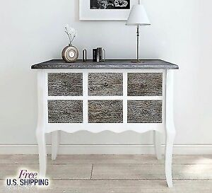 Wooden Console Cabinet Wood White Storage Table Vintage Furniture Chest  Drawers