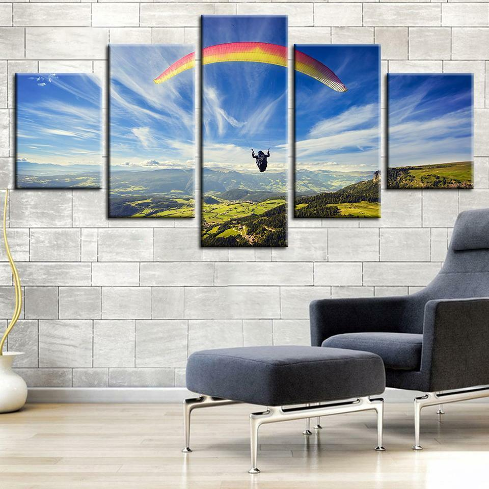 Paragliding Paraglider 5 panel canvas Wall Art Home Decor Poster Print