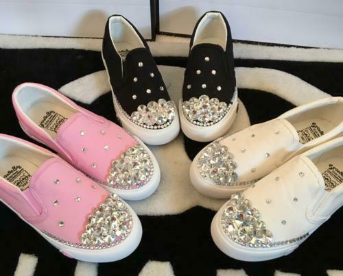 Womens Rhinestone Crystal Athletic Loafer Pull On leisure Sneaker Canvas Shoes