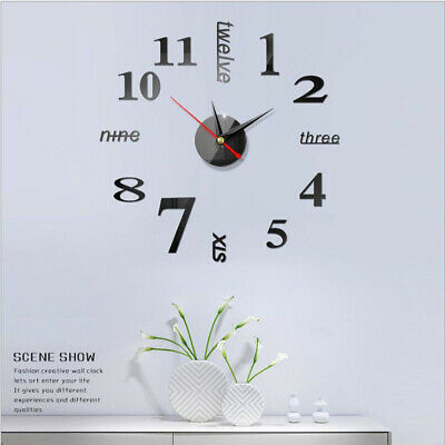 Digital DIY Wall Clock Modern Art Acrylic 3D Mirror Sticker Elegant Home //Office