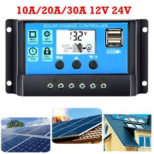 10/20/30A USB Batterie Solaire Panneau Contrôleur de Charge Régulateur 12/24V