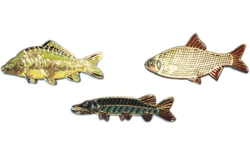 Roach /& Pike Freshwater Game Fish Angling Pin Angler Enamel Badges Mirror Carp