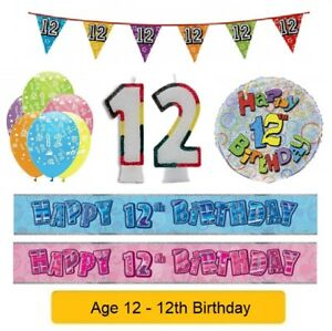 Image Is Loading AGE 12 Happy 12th Birthday Party Banners Balloons