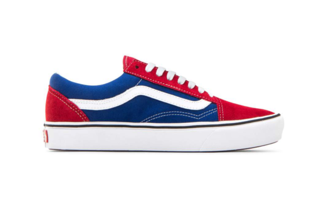 100% quality baby wide selection of colours and designs VANS ComfyCush Two Tone Old Skool Red Chili Pepper and True Blue Size 3.5-13