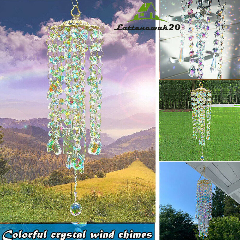 Clear Crystal Chandelier Wind Chimes Outdoor Porch Yard Garden Patio Hanging