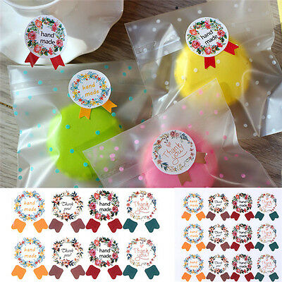 120x Garland Seal Stickers Gift Bag Candy Box Stickers w/ hand made / Thank you