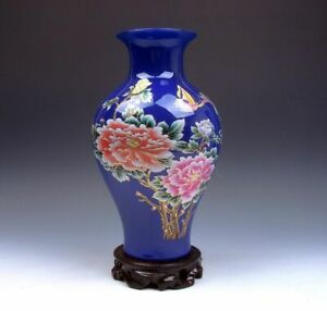 Blue-Glazed-Porcelain-Gold-Gilt-Flowers-Butterfly-Bird-Vase-w-Stand-12031915