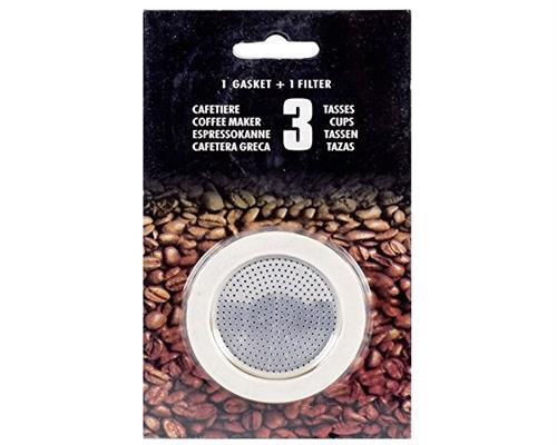 Krüger Filter und 3 Dichtungsringe für Espressobereiter 3 Tassen 125002