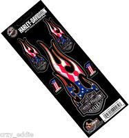 Harley Davidson 5 Piece Patriotic Flaming Bar & Shield Number 1 Decals Made Usa
