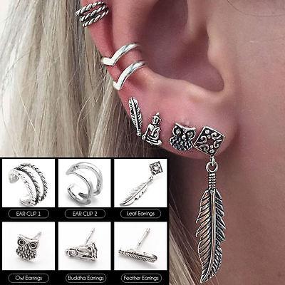 6Pcs/set Women Tibet Silver Mini Boho Ear Stud Earrings Leaf Owl Buddha Jewelry