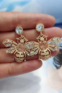 Hot-White-Glass-Crystal-Ear-Drop-Dangle-Stud-Ancient-Gold-long-Tassels-Earrings