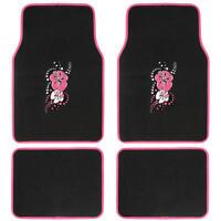 Custom Design Floor Mats, 4 Pc Car Accessories For Girls, Pink Hawaiian Flower on Sale