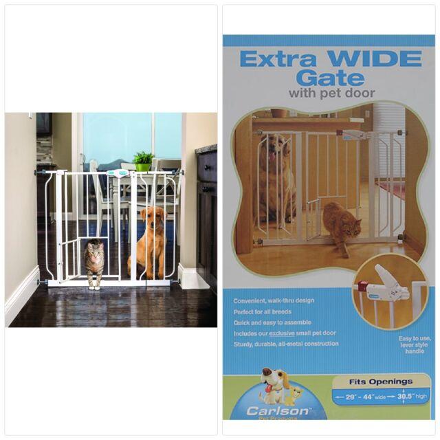Attirant Extra Wide Walk Thru Gate Dog Cat Pet Door Baby Child Toddler Safety Steel  White