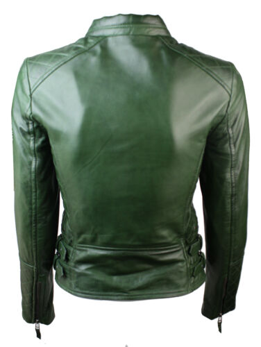 Onorevoli donne Genuine Real Leather Slim Fit Trapuntato Strass Verde Giacca Biker