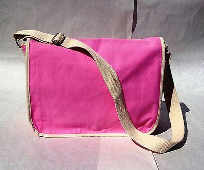 Heavy Duty Pink Canvas Messenger Shoulder Tote LapTop Briefcase Fashion Bag