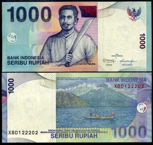 "INDONESIA 1000 1,000 RUPIAH 2012 P 141 /""XBD/"" REPLACEMENT UNC"