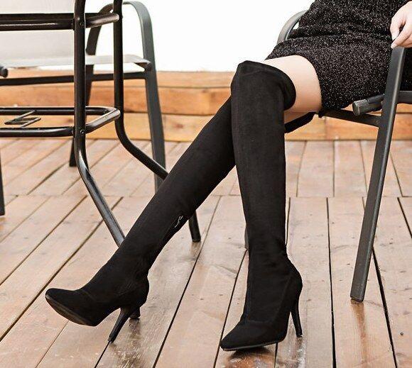 bottes noir genou cuisse 9 cm confortable confortable confortable talons aiguilles comme cuir 9328 9cc809