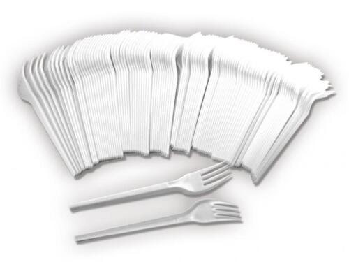 Kunststoff Gabel Einweggabel 1000x Plastikgabel Einweggeschirr weiß Grillen