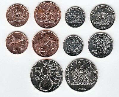 1 to 50 Cents//Various Dates Trinidad Set of 5 Coins