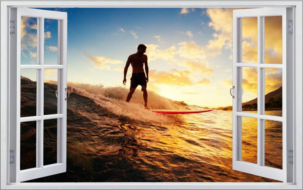 Surfer Beach Coucher de f0903 soleil Mural Sticker Autocollant f0903 de 8c1f3c