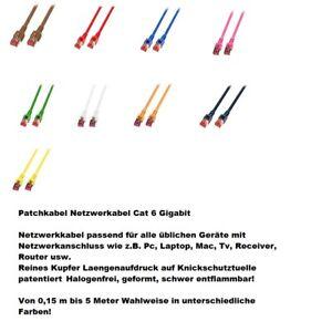 Patchkabel Cat.6 100 % Kupfer  Netzwerk TV DSL Game Wlan Gigabit Knickschutz