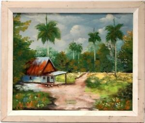 R-Martinez-Cuban-Landscape-Painting-Oil-on-Canvas-Original-Artwork-Signed-Dated