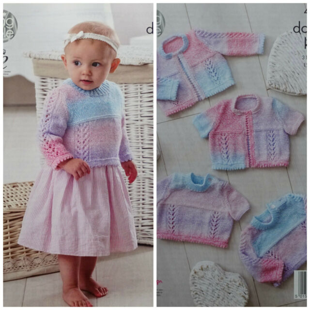 f364eb9402bc Knitting Pattern Baby Lacy Picot Edge Jumpers and Cardigans DK King ...