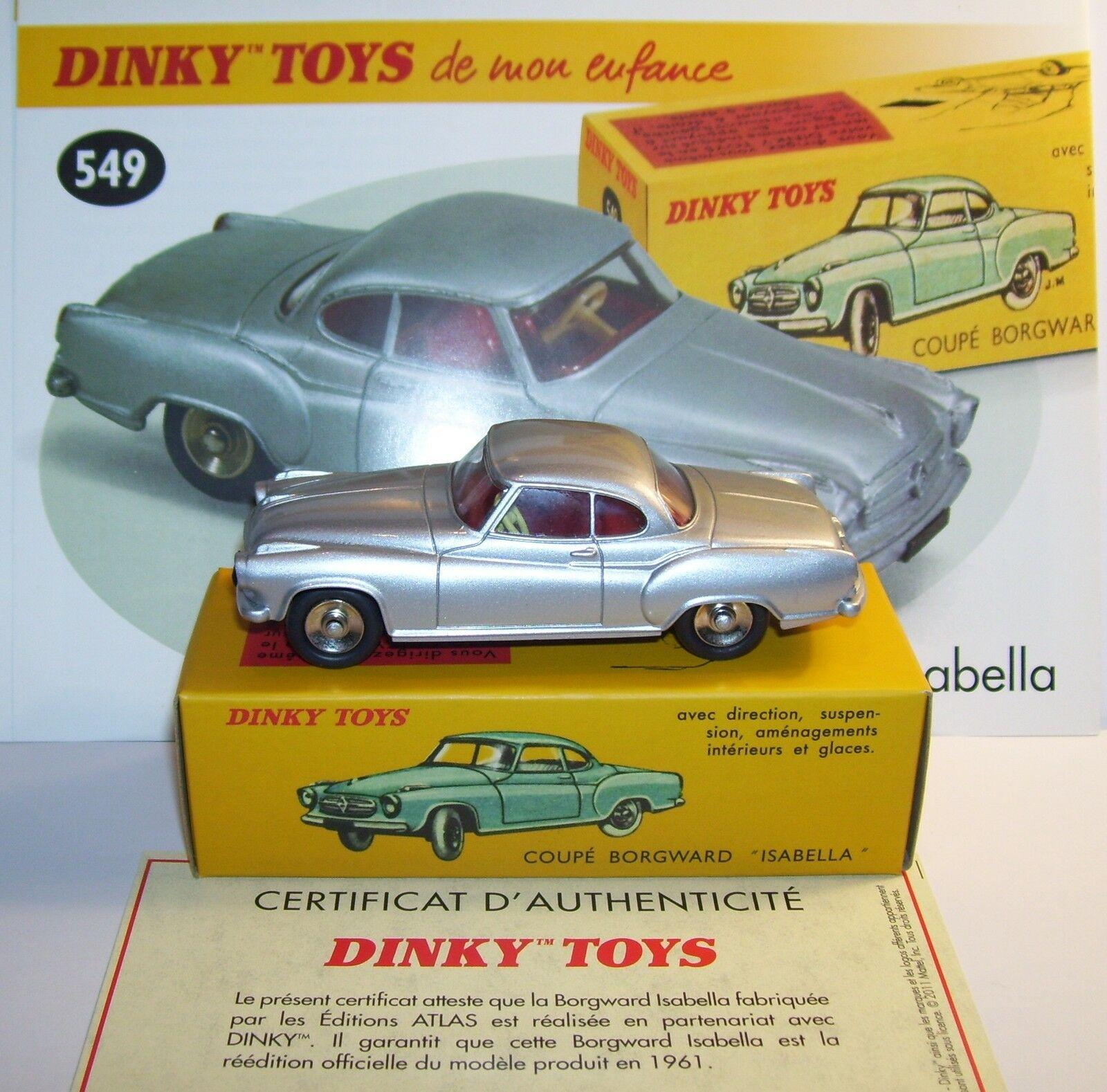 Dinky toys atlas coupe borgward isabella grey metal ref 549 1 43 in box