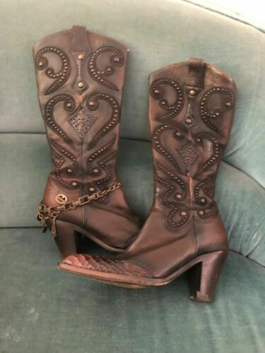 EL Dantes dark brown western style leather boots