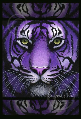 Purple Tiger Big Cat Green Eyes Fiala Myka Jelina 13x19 inch Print Signed