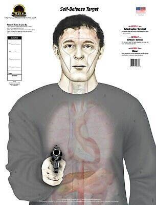 """armed Threat"" Self Defense Anatomy (25) Paper Shooting Targets"