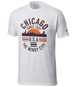 Columbia Mens Windy City Cotton Tee T-Shirt S-L-XL-2XL Chicago Logo White Top