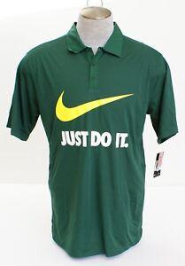 930a8c1f99ab Nike Dri Fit Green Just Do It Short Sleeve Polo Shirt Men s NWT