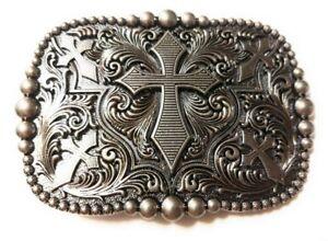 REC3-WESTERN-STEER-Cross-Cowboy-Rodeo-Style-Belt-Buckle-Buck-Silver-color