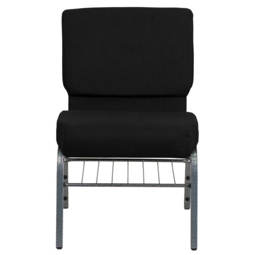 Silver Ve... HERCULES Series 21/'/'W Church Chair in Black Fabric with Book Rack
