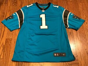 huge discount 7317c 716e7 Details about Cam Newton #1 Carolina Panthers NFL Nike Elite On Field Blue  Jersey Large