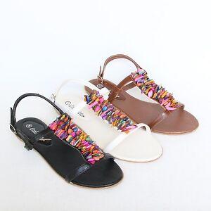 Flache Riemchen Sandalen Sandaletten Schwarz Braun Weiß Damen Schuhe Pumps GC004