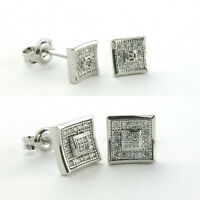 Sterling Silver Micro Pave Doubled Square Stud Earrings-silver Cz Square Stud
