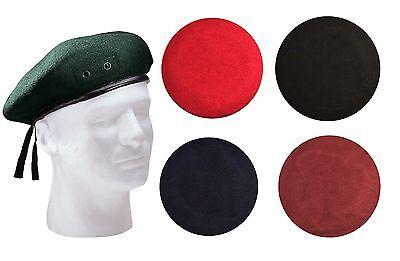 ARMY BERET BLACK NEW WOOL GREEN HAT CAP MILITARY SIZES BERETS NAVY GREEN MAROON