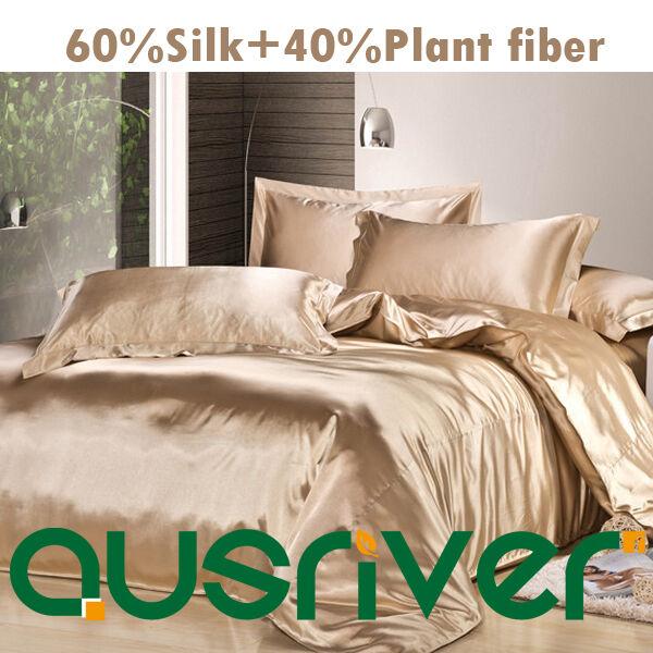Genuine Silk Soft Satin Single Double Queen KB Größe Bed Quilt Doona Douvet Sets