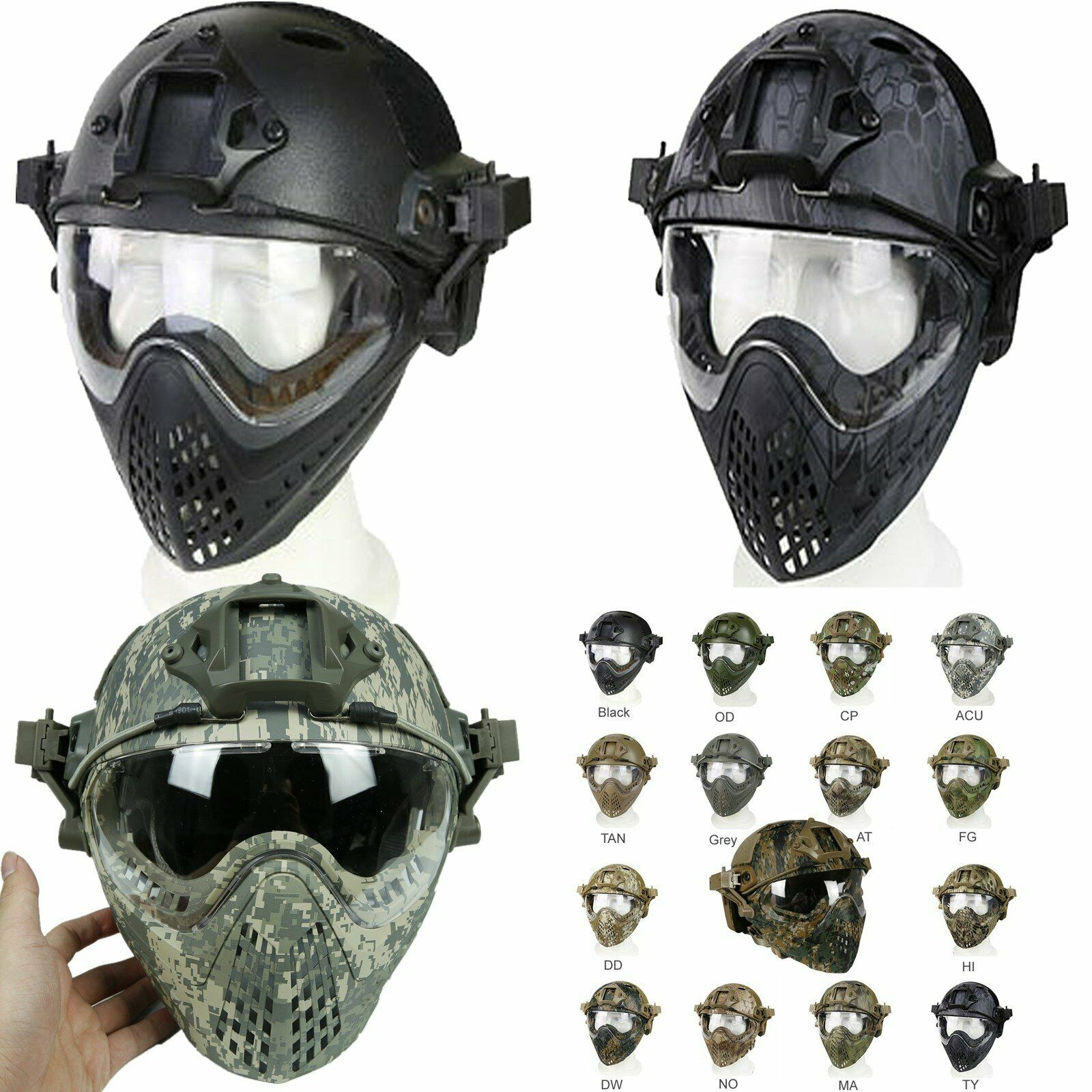 PJ Type Tactical Fast Helmet Full Face Mask Goggles Game Airsoft Paintball Guard