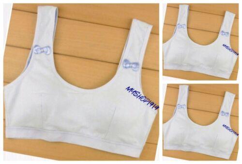 Girls Bra COTTON 3 Pack School Crop Underwear Tops Age 10 11 12 13 14 15 Yrs