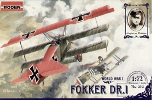 Roden-010-German-airplane-Fokker-DrI-World-War-I-1-72-scale-model-kit-100-mm
